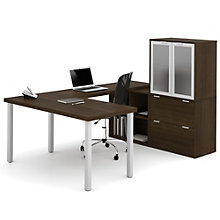 "i3 Glass Accented U-Shaped Workstation - 88.5""W, 8802206"