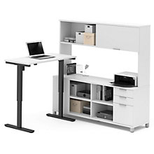 Pro Linea Adjustable Height L-Desk with Hutch, 8804340