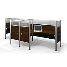 Pro Biz Side-by-Side Double L-Workstations with Acrylic and End Panels, 8804734