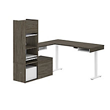 Height-Adjustable L-Desk with Credenza and Hutch, 8828141