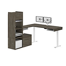 Height-Adjustable L-Desk with Credenza, Hutch, and Monitor Arm, 8828142