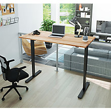 "Adjustable Height Desk with Solid Wood Top - 60""W, 8827673"