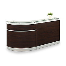"Glass Top Single Curve Reception Desk - 96""W x 31""D, 8808200"