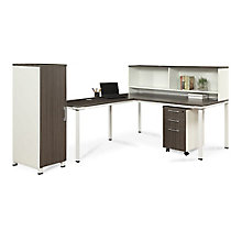 "72""W L-Desk with Hutch, Pedestal and Wardrobe Storage, 8808216"