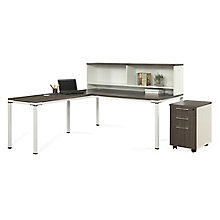 "72""W L-Desk with Hutch and Mobile Pedestal, 8808217"