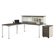 "72""W L-Desk with Hutch and Mobile Pedestal, 8808217"