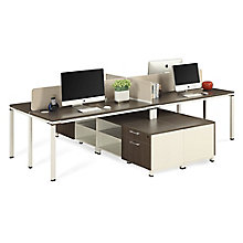 "Four Person 59""W Workstation with Storage, 8808219"