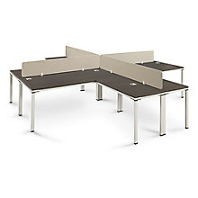 Four Executive L-Desks with Privacy Panels , 8808225