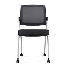 Armless Mesh Back Polyurethane Nesting Chair with Dual-Purpose Casters, 8808159