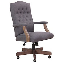Widmore Button-Tufted Chair in Fabric with Driftwood Frame, 8805193