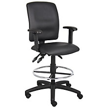 Drafting Stool with Adjustable Arms in Faux Leather, 8806914