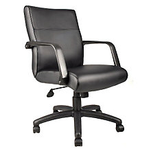 Bonded Leather Mid Back Chair with Knee-Tilt, 8803625