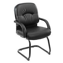 Black Vinyl Guest Chair, BOC-B7409