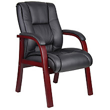 Wood Frame Vinyl Guest Arm Chair, BOC-B8999