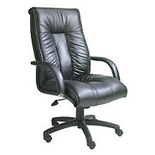 Black Leather Executive High Back Chair with Knee-tilt, BOC-B9302
