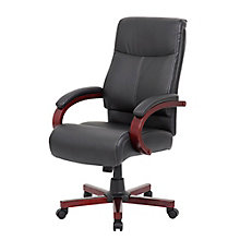 Wood Base Executive Chair in Vinyl, 8807857
