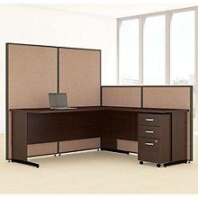 """L-Desk & Panel Set with Mobile Pedestal - 74""""W, 8805226"""