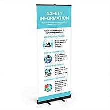 Safety Information Banner Stand 6.5'H, 8828868