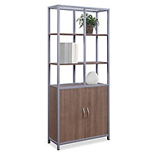 "Compass 72""H Five-Shelf Bookcase with Doors, 8827994"
