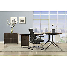 "Two-Tier 60""W L-Desk with Reversible Return and Lateral File, 8807837"