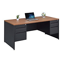 "Double Pedestal Laminate Top Steel Desk 66""W, 8826772"