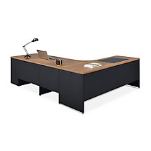 Carbon L-Desk with 3-Drawer Pedestal and Right Return, 8827832