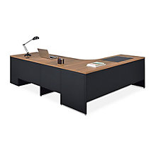 Carbon L-Desk with 2-Drawer Pedestal and Right Return, 8827833