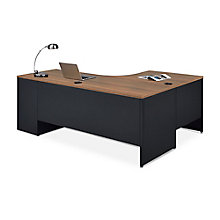 Carbon J-Desk with 2-Drawer Pedestal and Left Return, 8827837