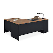 Carbon J-Desk with 3-Drawer Pedestal and Right Return, 8827838