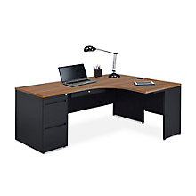 Carbon J-Desk with 2-Drawer Pedestal and Right Return, 8827839