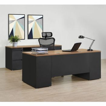 Carbon Executive Desk And Credenza Set, Office Furniture Set