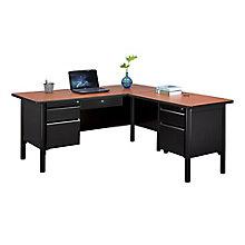"Steel Double Pedestal L-Desk with Center Drawer - 66""W x 72""D, 8825352"
