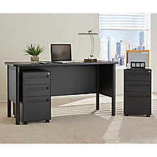 Steel Compact Desk with Laminate Top and Two Mobile Pedestals, 8826968