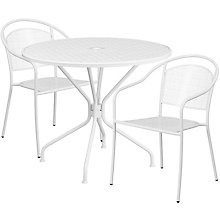 """35.25"""" White Table w/ 2 Seats, 8811924"""
