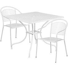 """35.5"""" White Table w/ 2 Seats, 8811928"""