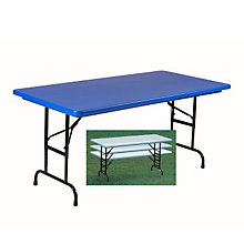 "30"" x 72"" Lightweight Adjustable Height Plastic Folding Table - 22-32""H, COR-RA3072"