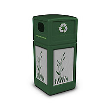 Decal Recycling Receptacle with Cattail Design - 42 Gallon, 8822756