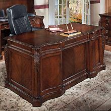 """Bordeaux Cherry Shaped 72"""" Executive Desk, 8802984"""