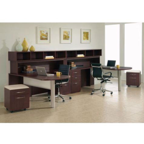 Complete Double Fan Workstation Shown in Mahogany