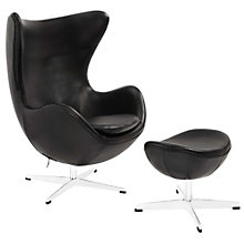Leather Lounge Chair and Ottom, 8805525