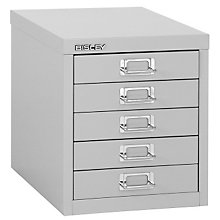 Bisley Five Drawer Steele Desktop Multidrawer Storage Cabinet, EMI-EOSCMD125