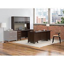 "Enterprise Pedestal Desk with Credenza and Hutch - 72""W, 8808127"
