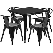 Black Metal Indoor Table Set, 8812009