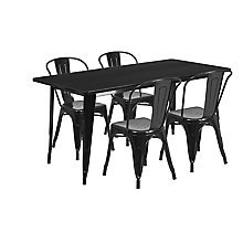 Black Metal Indoor Table Set, 8812011