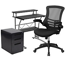 Tiered Desk with Locking File and Mesh Chair, 8828626