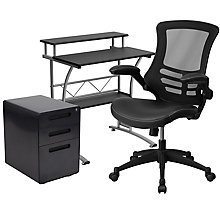 Tiered Desk with Locking File and Faux Leather Chair, 8828627