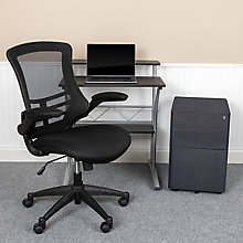 Tiered Desk with Mesh Chair and Standard Locking File, 8828628