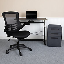 Adjustable Height Desk with File and Mesh Chair, 8828630