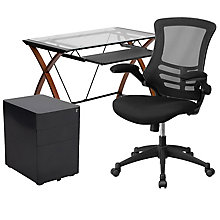 Glass Top desk with Standard Locking File and Mesh Chair, 8828633