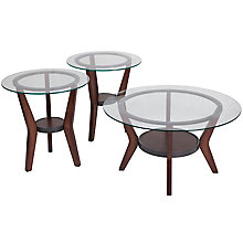 Glass, Wood cocktail table set, 8812094